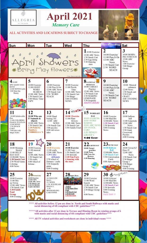 March 2021 Memory Care Calendar