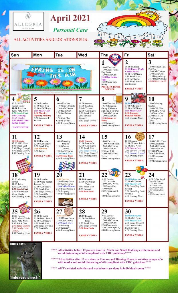 March 2021 Personal Care Calendar